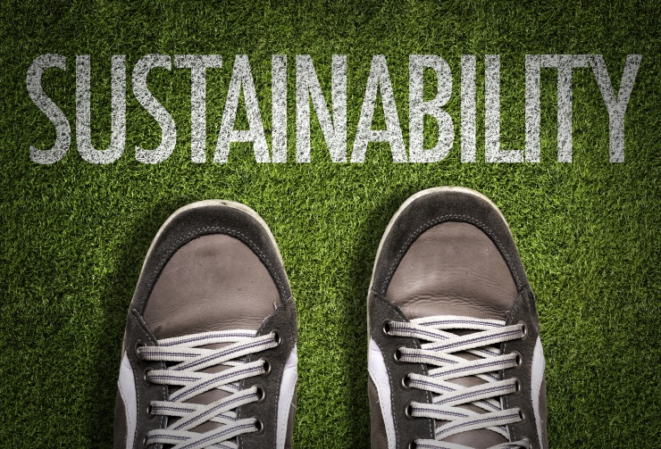 Top View of Sneakers on the grass with the text: Sustainability